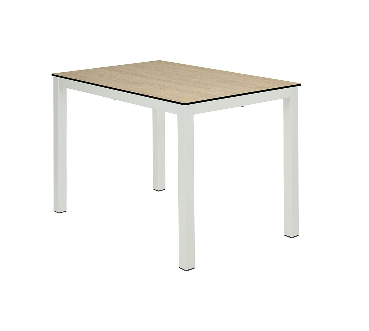 Mesa Glad a 75 rectangular aluminio color blanco texturado tablero compacto roble rural