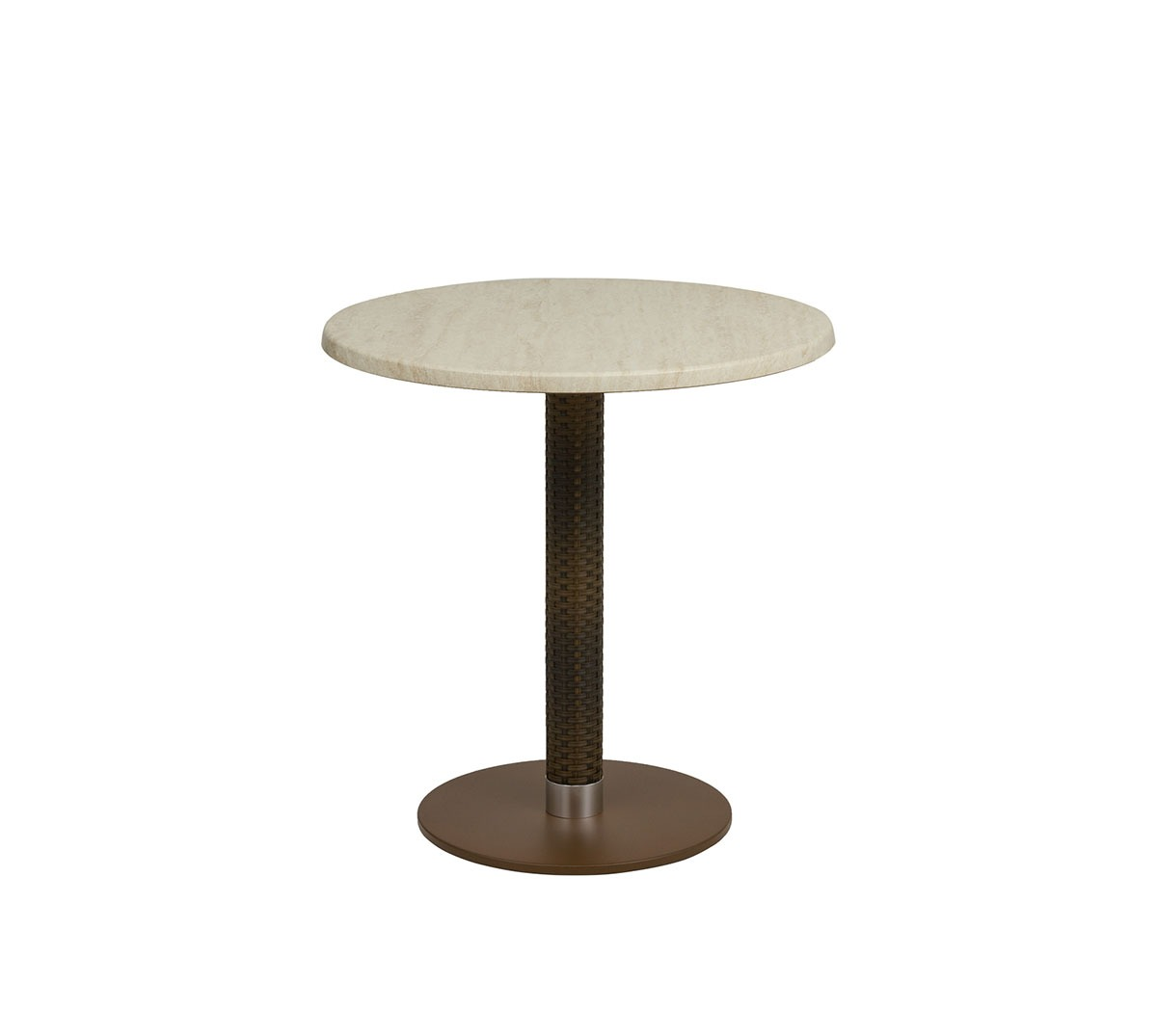 Mesa Golden a 75 aluminio color óxido marrón columna médula café tablero TOP travertino