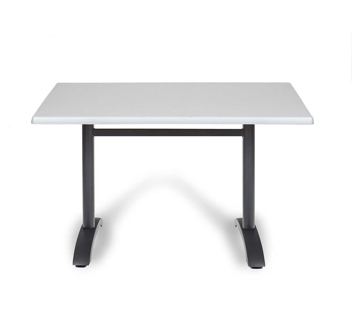 Mesa Oporto a 75 rectangular aluminio color grafito tablero top plata