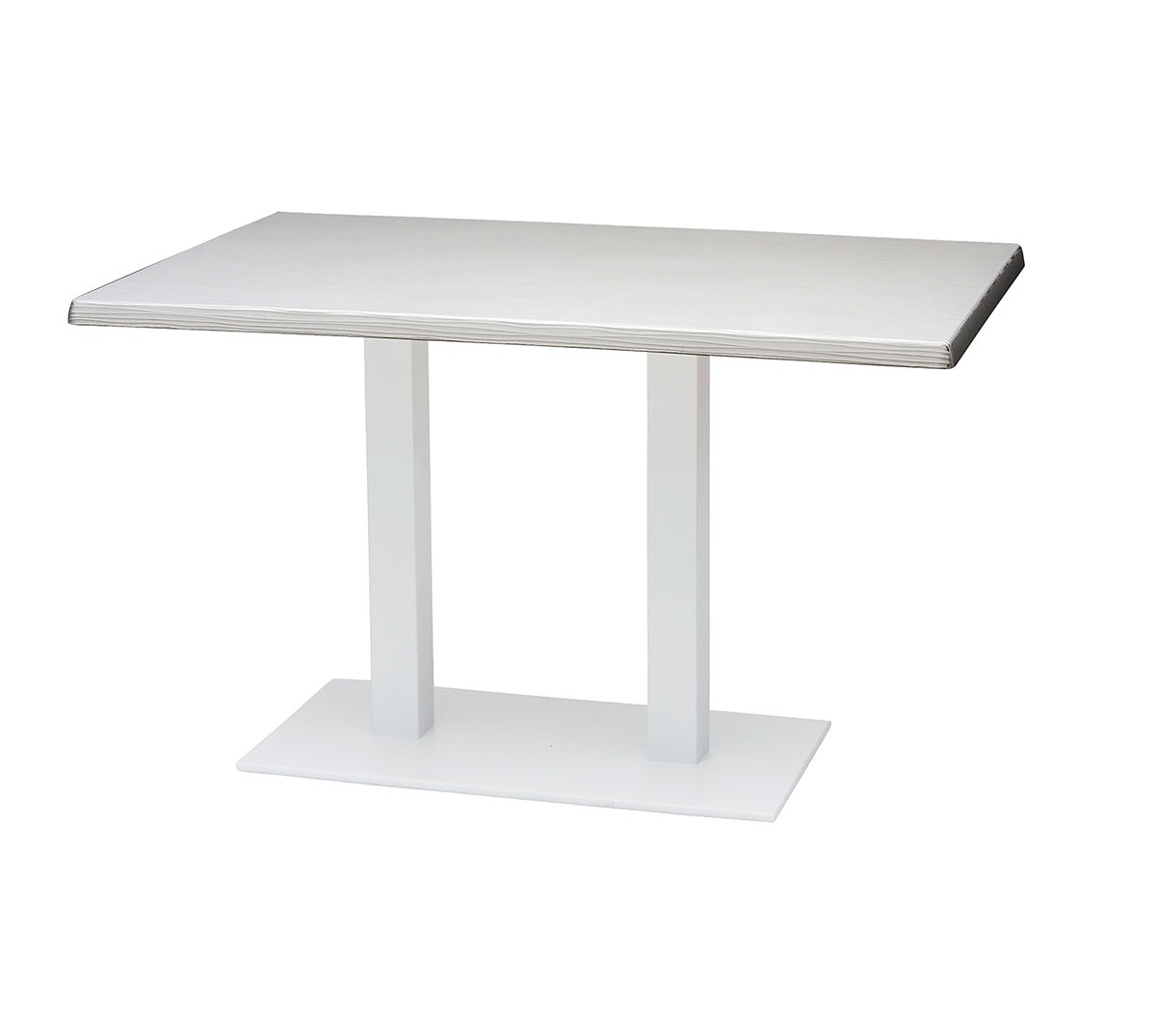 Mesa Sidney a 75 rectangular aluminio color blanco texturado tablero top mar blanco