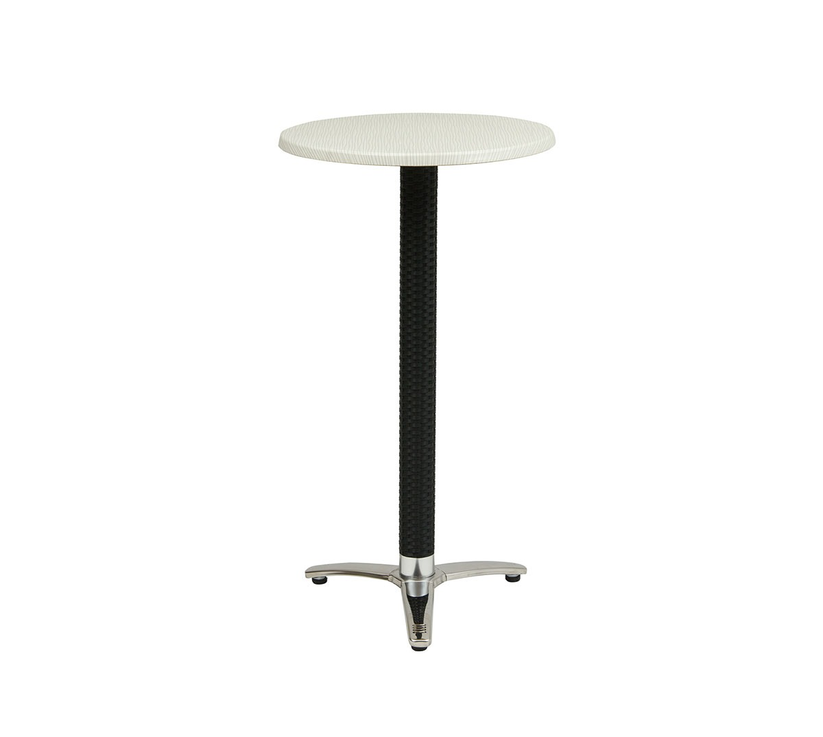 Mesa Turín 3p a 108 aluminio columna antracita tablero top mar blanco