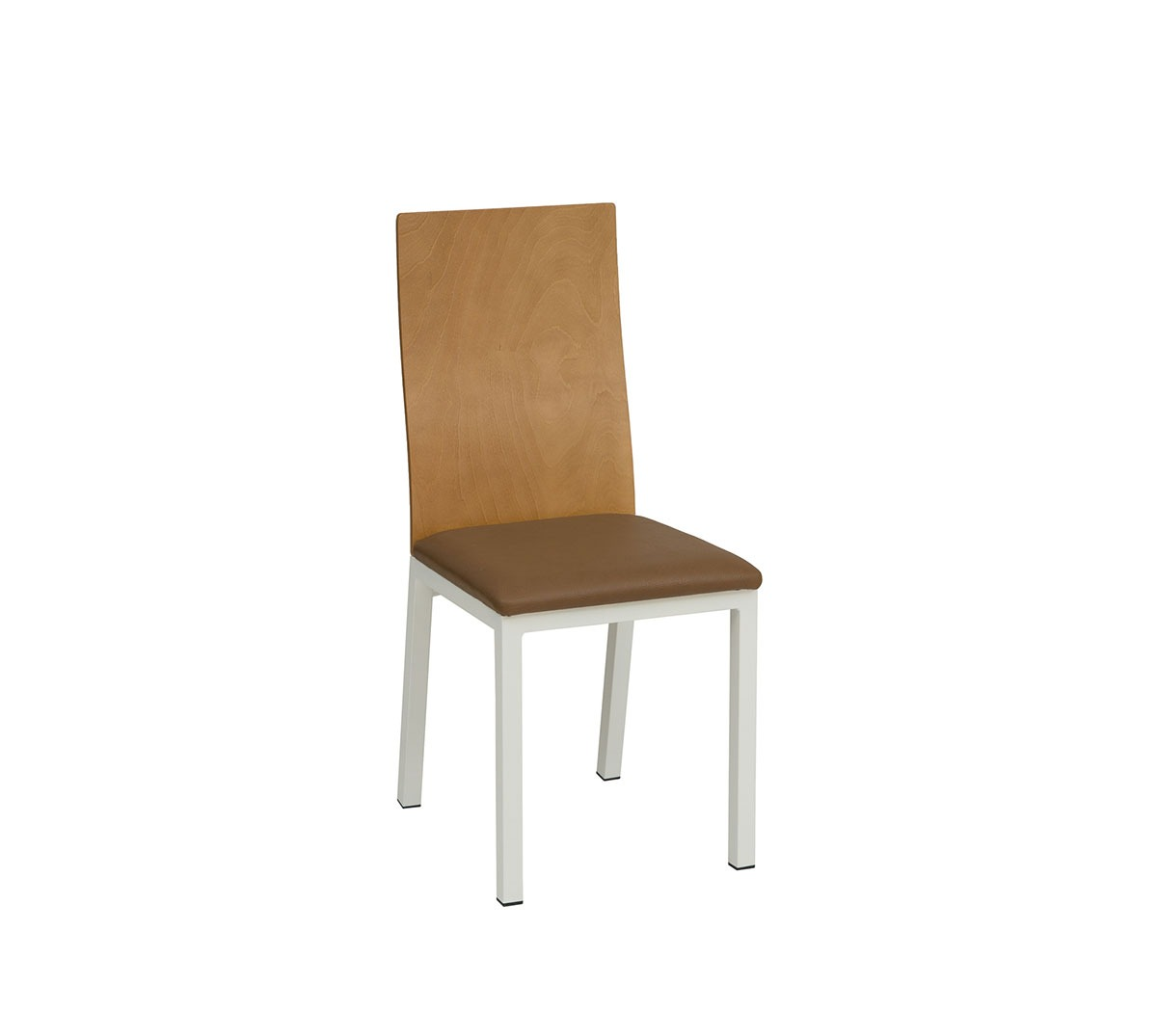 Silla Boston estructura acero color blanco texturado respaldo barnizado natural asiento tapizado textil marrón chocolate