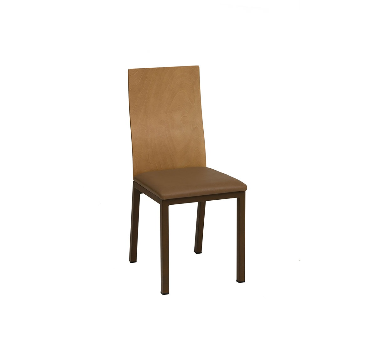 Silla Boston estructura acero color óxido marrón respaldo barnizado natural asiento tapizado textil marrón chocolate